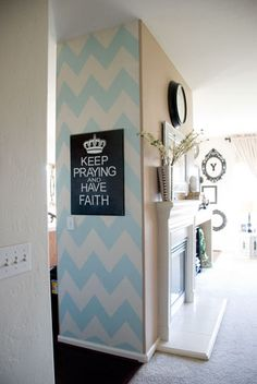 Vintage Romance: DIY Chevron Accent Wall Tutorial - looks cute on a small wall like that, love her sign too!