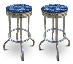 """2 24"""" Tall Detroit Lions NFL Football Themed Specialty / Custom Barstools Set by The Furniture Cove. $154.87. Detroit Lions Themed!. 24"""" Tall To Seat. Set of 2 Bar Stools. Chrome Metal Finish. Swivel Seats. These are new, 24 inch, chrome, specialty barstools. They have footrests and a swivel seat. The seat is made of a Detroit Lions NFL Football Themed fabric. The sides of the seat have nice metal work and there are feet protectors on the bottom of each leg. These are great f..."""