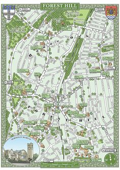 Forest Hill & Honor Oak (SE23) 48 x 33 cm illustrated map print