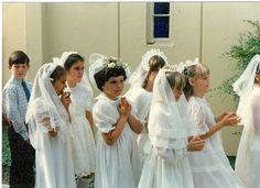 The heathen in training. Hedwig's Catholic School, Los Alimitos, CA Girls First Communion Dresses, First Holy Communion, Confirmation Dresses, Religion, Hipster Babies, Catholic School, Echo Park, Bridesmaid Dresses, Wedding Dresses