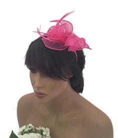 Elegant Hot Pink Rose Design Fascinator Headband Hatinator Weddings or Races