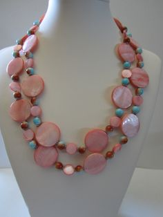 Salmon Mother of pearl double strand necklace Resort by yasmi65, $32.00