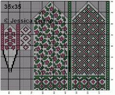 30 Patrones de Mitones Jackard Knitting Charts, Knitting Stitches, Knitting Socks, Hand Knitting, Knitting Patterns, Knit Socks, Crochet Mittens, Mittens Pattern, Filet Crochet