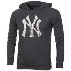 Majestic New York Yankees Hacci Slub Pullover Hoodie - Charcoal