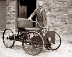 Henry Ford with his first automobile, 1896