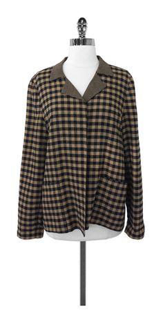 Ellen Tracy Checkered Open Front Jacket