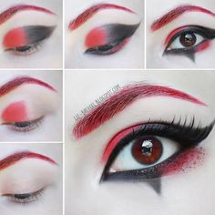 Induce shock and thrill flashing Harley Quinn's renegade two-toned black and red winged eyes with fiery red brows. Check out the step-by-step tutorial to recreate this look here.