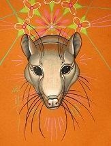 greta the rat, rodent art, totem art, spirit animal by anjimarth for $20.00