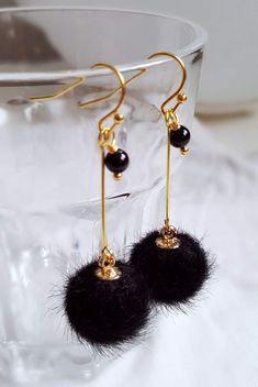 Dangle Earrings – Faux Fur Pom Pom Gold Plated Earrings - Black – a unique product by HelenaArgona on DaWanda