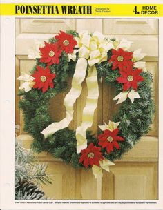 Poinsettia Wreath Plastic Canvas Pattern by needlecraftsupershop, $4.99