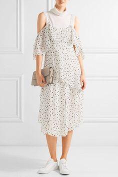 Maiyet - Fluid Wave Printed Silk-crepon Midi Dress - White - US12