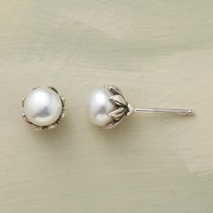 """PEARLS IN BUD EARRINGS--Petals handcrafted of sterling silver embrace each cultured button pearl for studs that bloom with beauty. A Sundance exclusive with sterling posts. Approx. 1/4"""" dia."""
