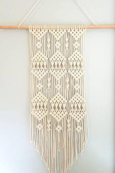 Large Macrame Wall Hanging White Cotton Cord 2