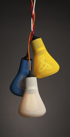 3D printed lamp shades by Plumen and Italian 3D printing design specialist, Formaliz3d.