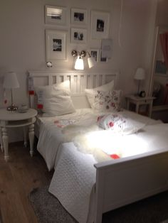 Hemnes Bed in white with grey, cream and Baby Pink. Ikea St. Gallen / CH