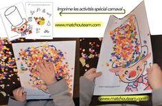 carnaval+les+fiches+à+imprimer. Creative Activities, Craft Activities For Kids, Kindergarten Activities, Crafts For Kids, Clown Crafts, Circus Crafts, Carnival Activities, Theme Carnaval, Clown Party