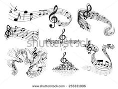 Abstract sheet music design elements depicting music staves with treble clefs, notes, clef signs with shadows and reflections isolated on white background
