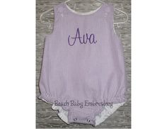 Purple Seersucker Monogrammed Baby Girls Bubble Romper, Dress, Shortall, or Longall, Custom Made-to-Order Outfit, Matching Brother Sister