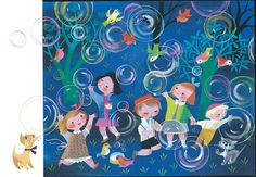 """Mary Blair's illustration for """"The Golden Book of Little Verses,"""" 1953, gouache on board. (Courtesy Penguin Random House LLC / Eric Carle Museum of Picture Book Art)"""