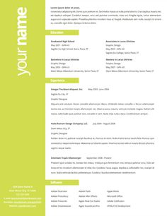 Simple use of color on creative resume (But please, keep high school off of there!)