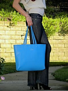 CORNFLOWER BLUE Tote Bag, Leather Tote, Bridesmaid Gift, Tote with Pocket, Monogrammed Tote, Travel Tote, Large Tote Bag, Gift For Her