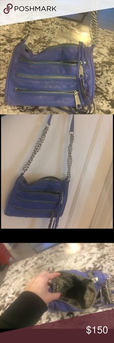 Rebecca minkoff. Purple summer shoulder bag I love this bag and wore it a lot.   Periwinkle purple is color.  I do not have dust bag and there IS visible wear and tear on inside of item. Priced accordingly. Rebecca Minkoff Bags Crossbody Bags
