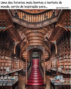 In a castle's library — Livraria Lello, Porto, Portugal. Beautiful Library, Dream Library, Library Books, Hogwarts Library, Livraria Lello Porto, Heaven Book, Studio Decor, Voyage Europe, Europe Europe