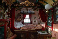 Inside the vardo ~ Gypsy Caravan Interior Gypsy Decor, Bohemian Decor, Bohemian Style, Bohemian Gypsy, Gypsy Style, Hippie Chic, Hippie Style, Glamping, Gypsy Trailer