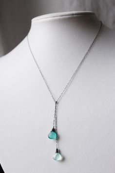 Teal Chalcedony Oxidized Sterling Silver Gemstone by skyejuice, $34.00