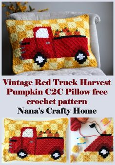 The Vintage Red Truck Harvest Pumpkin C2C Pillow is a Free Crochet Pattern!  This corner to corner crochet pillow is beautifully bright and a perfect addition to your holiday Fall decor!  Made with the mini hdc c2c technique with complete tutorials provided if you have never worked this stitch before.  Complete row by row written instructions and full color graphs provided.  #nanascraftyhome