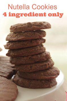Easy Nutella Cookies only 4 Ingredients - Simply Bakings Popular Cookie Recipe, Best Cookie Recipes, Sweet Recipes, Baking Recipes, Dessert Recipes, Hot Chocolate Gifts, Chocolate Flavors, Nutella Cookies Easy, Best Christmas Desserts
