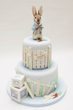 Emma Jayne Cake Design added a new photo. Peter Rabbit Cake, Peter Rabbit Birthday, Peter Rabbit Party, Coelho Peter, Beatrix Potter Cake, Christening Cake Boy, Character Cakes, Cute Cookies, Novelty Cakes