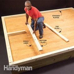 Learn the simple framing techniques that ensure accurately built, tightly framed walls. This article explains the basics of marking up and laying out a wall, along with tips about headers, trimmers and studs. Framing Construction, Deck Construction, Cabin Plans, Shed Plans, Woodworking Plans, Woodworking Projects, Building A Shed, Building Ideas, Building Plans