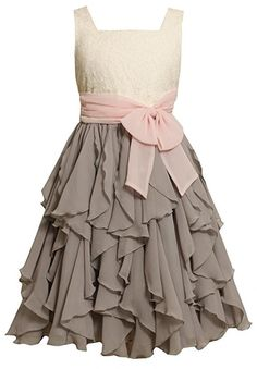 Grey Ivory Vertical Cascade Ruffle Chiffon Dress FU4SV,Bonnie Jean Tween Girls Special Occasion Party Dress