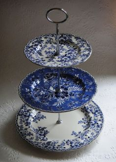 3 Tier Cake stand Johnson Brothers Devon Cottage Blue White Floral ~ Sarah's Country Kitchen ~
