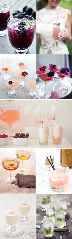 Setup a cocktail bar. Choose a few drinks & place recipe cards on table with supplies. I love the berries and the pretty drinks.without alcohol. Beste Cocktails, Fun Cocktails, Fun Drinks, Yummy Drinks, Cocktail Recipes, Cocktail Ideas, Beverages, Alcohol, London Dry Gin