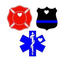 Police Badge/Maltese Cross/EMT Caduceus Heart Vinyl Decal