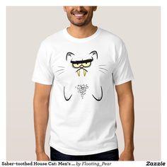 Saber-toothed House Cat: Men's T-shirt #cat # funny #lumpyfurfur #floatingpear