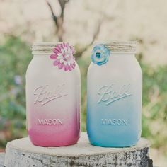 Ombre Painted mason jars.