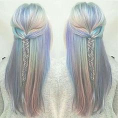 The perfect opal mermaid hair colorful hair holographic hair pastel hair Cabello Opal, Galaxy Hair, Dye My Hair, Crazy Hair, Gorgeous Hair, Hair Looks, Hair Trends, Hair Inspiration, Cool Hairstyles