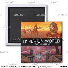HYPERION WORLD SCIENCE FICTION Scifi 2 Inch Square Magnet #robot #tech #scifi #3danimation #android #robotics #geek #nerd #comics