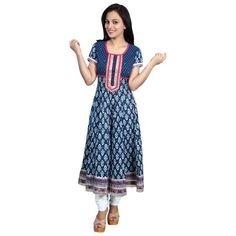 Printed Cotton Kurti Blue - Satrangi Bazar