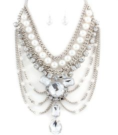 Collar Drop Fashion Statement Necklace Earrings Set (Silver Tone) - $35
