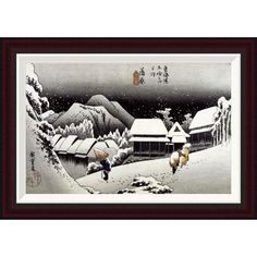 Global Gallery Kambara, Night Snow by Hiroshige Framed Painting Print Size:
