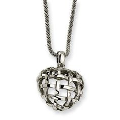 Women's Polished Stainless Steel Weave Dome Pendant Necklace Jewelry Available Exclusively at Gemologica.com