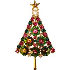 Very Special Vintage MARGARITA CRYSTAL Christmas Tree Brooch Z