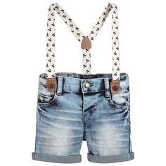 Mayoral - Baby Boys Light Blue Denim Shorts With Braces | Childrensalon