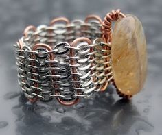 Wire woven ring, this would make such a cute bracelet!