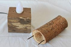 These unique wooden lamps are handcrafted from bunya pine branches and mounted on reclaimed fence posts. Inspired by natural form and texture, each lamp will add ambience and character to any room setting, or could be used as an enchanting night-light. The dimensions of Bunya Lamp_5 is 30 (h) x 11 (w) x 10 (d) cm. Electrical wiring is Australian certified and approved 1 x E14 LED bulb included Each lamp has been created in response to the form and texture of each bunya pine branch, which I…