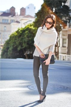Love this pairing of soft sweater and leather.